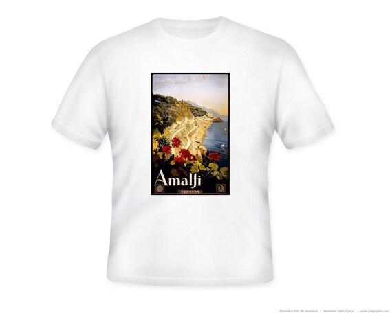 Amalfi, Italy Vintage Travel Poster Adult T-Shirt, sizes S, M, L, XL, 2XL, 3XL