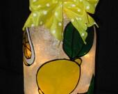 Lemon  & Sugar Lighted Wine Bottle