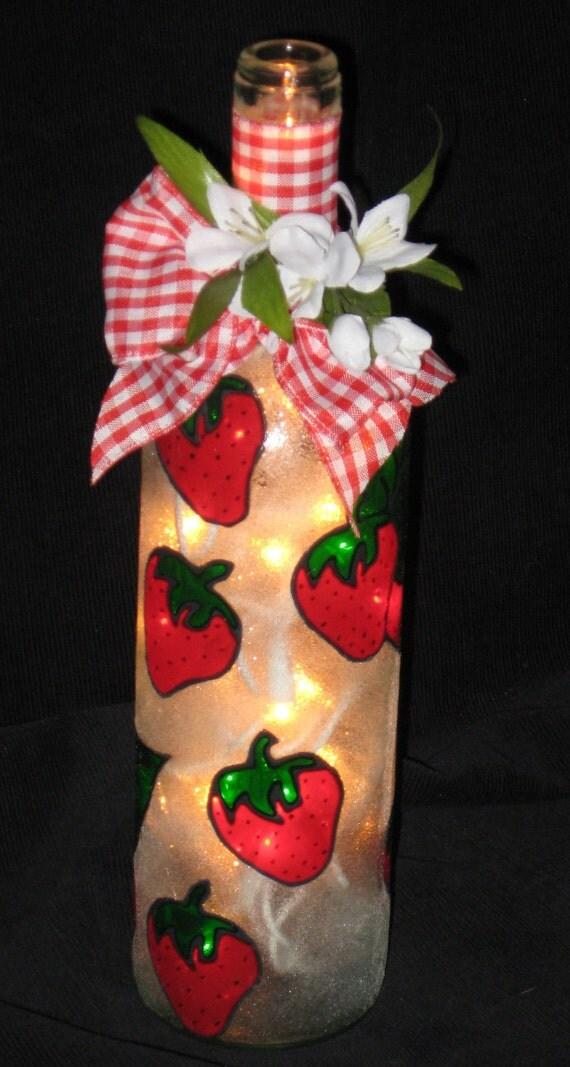 Strawberry Wine Bottle Light