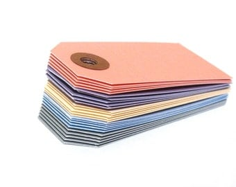 "25 Pastel Mini Tags - 13 pt Cardstock - Small Gift Tags - Hang Tags - Shipping Tags - 2 3/4"" x 1 3/8"""
