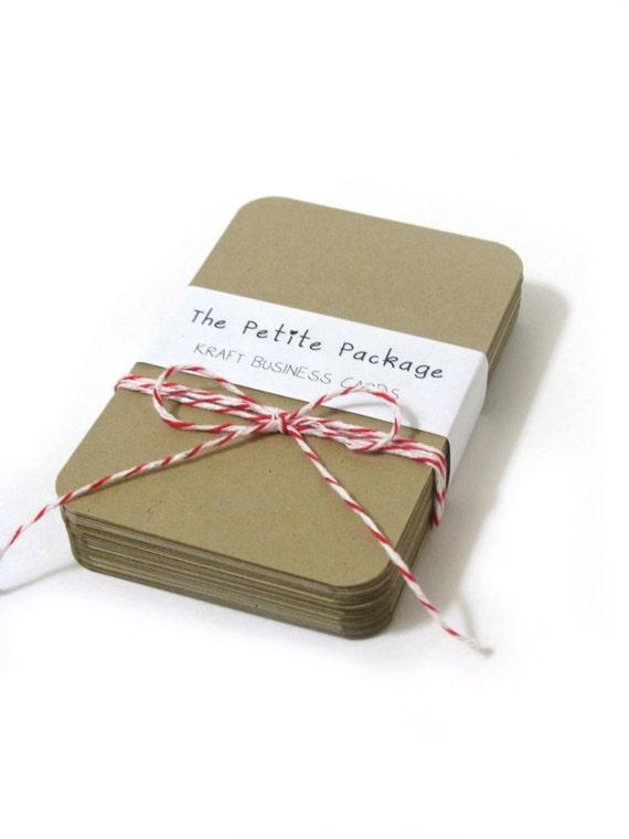 Blank Kraft Cardstock - Rounded Corner Business Cards - Set of 50