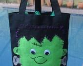 Trick or Treat bag with felt Frankenstein