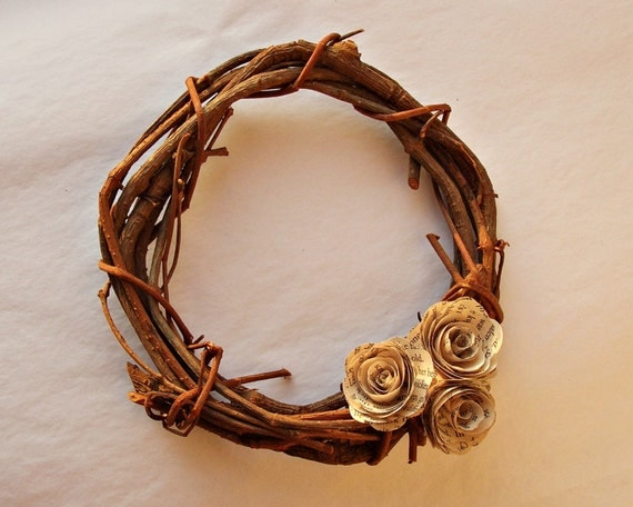 Rustic Wedding Wreath (Mini) Paper Flower Rose and Wooden Branch Wedding Wreath