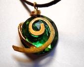 Zelda Kokiri's Forest Emerald Necklace, Black Cord, Flatback