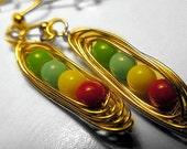 Zelda Magic Bean Earrings, Wire Wrapped