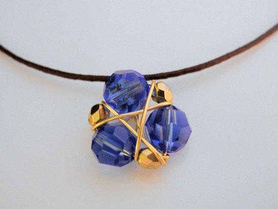Zelda Necklace Zora's Sapphire, Black Cord