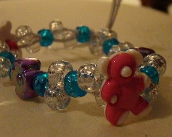 Custom Teddy Bears Staggered Kandi Bracelet with Flower Beads