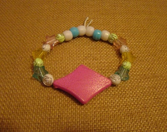 Custom Diamond Kandi Bracelet with Stars and Flowers