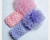 handmade pink lavender purple chiffon lace flower hair Rosette clips headband  baby girl photo props
