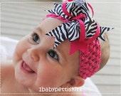 girl photo props Hot pink black zebra grosgrain bow clips & bubble gum pink  tutu headband baby infant