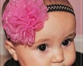 handmadehot pink chiffon lace tulle flower hair Rosette clips tiny black headband  baby girl photo props