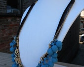 Blue Pom Pom and Gold Chain Necklace