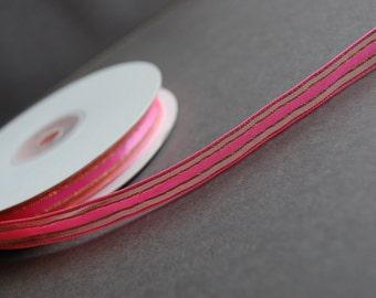 5yds - Hot Pink Organza Ribbon with Gold Metallic
