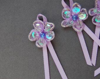 6pcs Lilac Sequin Organza Flower Bow