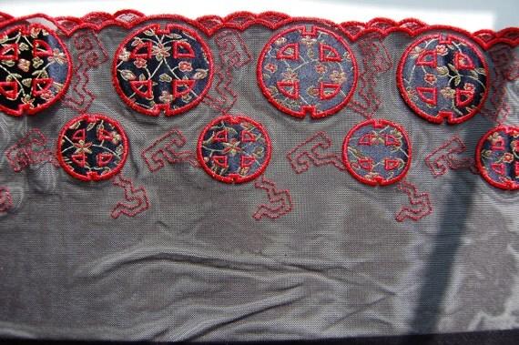 Kimono Print Stretch Embroidered Band