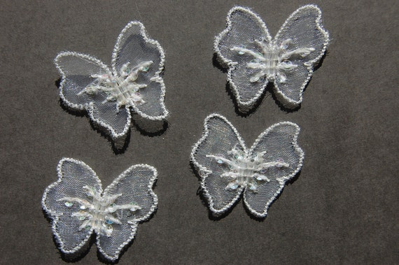 4pc Small Organza Butterfly Embroidered Applique