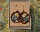Bolivian Rosewood hand inlaid earrings