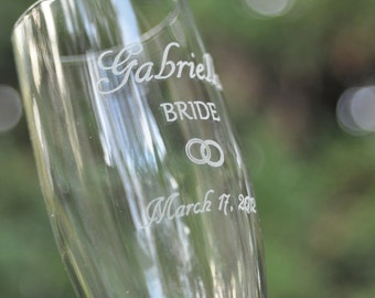 Wedding Champagne Glasses Double Ring