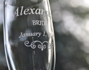 Wedding Champagne Glasses - Personalized Pair with Mr and Mrs Charms