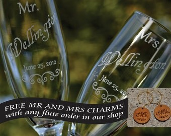 Wedding Champagne Glasses Personalized with Name and Date