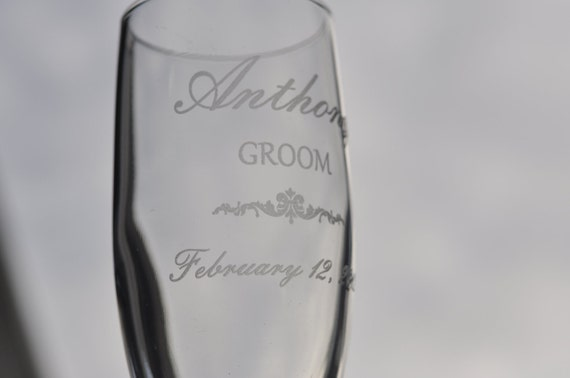 Wedding Champagne Flutes Set Personalized