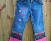 REDUCE PRICE / Upcycled blue jeans for girls / recycled blue denin / embellished denin/ size 5