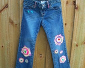 Upcycled Jeans,  Recycled  jeans for Girls, Embellished jeans, Repurpose Denin, Size 6, Set of 2,  T-shirt and Jeans