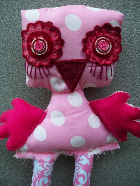 SALE / Fabric  toy /  recycled fabric toy / pink owl bird