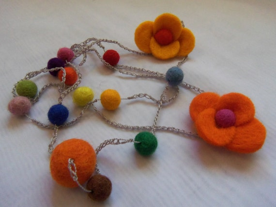 Long Multi-Color Felt Flowers and Felt Bead Crochet Necklace