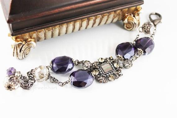 Chunky Bead Bracelet, Bold Statement, Purple Glass Beads, Rhinestone Focal