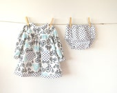 Cotton Play Dress with Matching Bloomers, Size 80 (12-18 month)
