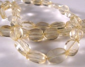 Light Citrine slightly faceted oval beads  42 pieces   10 inch strand