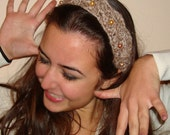 Hand Crochet   beige brown tiara like  crown, with coral beads