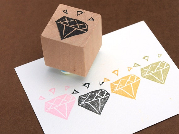 Diamond Hand Carved Rubber Stamp