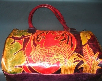 Very Colorful Leather Tiger Bag Made In India