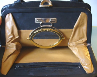 Vintage Black Lou Taylor Handbag with Signature Mirror and Matching Change Purse