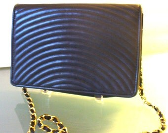Vintage Preswick& Moore Navy Blue Quilted Shoulder Bag With Chain Strap
