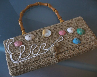 Vintage Raffia Made In Japan Purse with Shell Trim