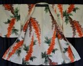 Vintage Japanese Silk Kimono Haori Jacket Collectible Meisen Weave Ivory Silk Amazing Watercolour Effect Heavenly Bamboo Design