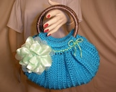 Funky Blue and Green Crocheted Handbag