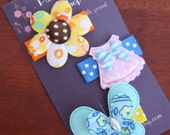 Flower, Doll dress & butterfly - Baby snap clips