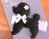 Paris & Lulu Fur Poodle -Black and Purple -Alligator clip