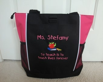 Tote Bag Personalized Teacher Aide Counselor Apple Books Worm Teach Touch Lives