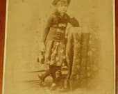 Victorian Cabinet Photograph of a Chicago Girl in Star Spangled Music Hall Costume circa late 1880's
