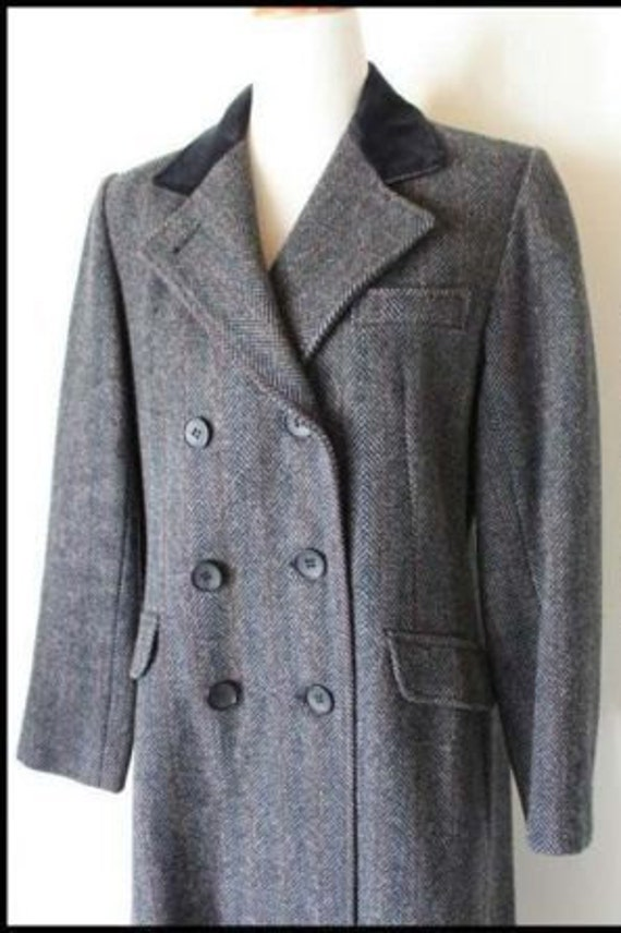 Vintage Projections Ltd. Grey Wool Tweed Steampunk Edwardian Style Frock Coat With Velvet Collar