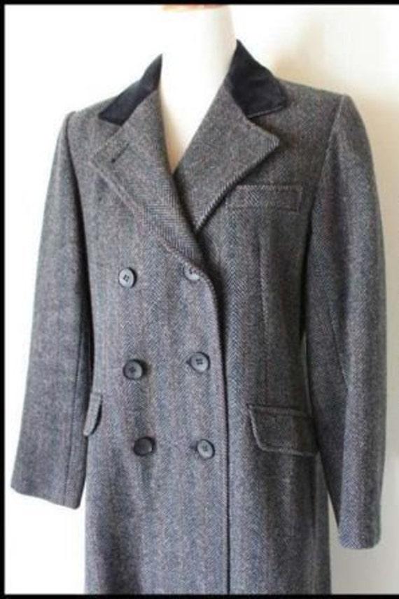 Vintage Projections Ltd. Grey Wool Tweed Steampunk Edwardian Style Frock Coat With Velvet Collar