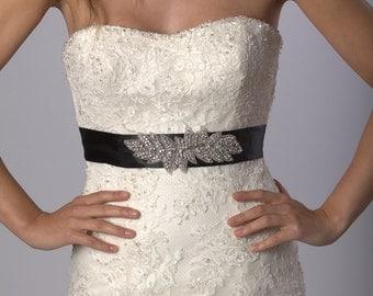 Crystal rhinestone and beaded bridal sash/belt