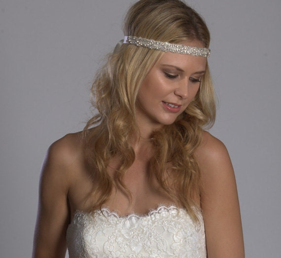 As seen on Zooey Dechanel in New Girl - Rhinestone and beaded bride/bridesmaid headband