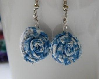 Blue rose bud earrings