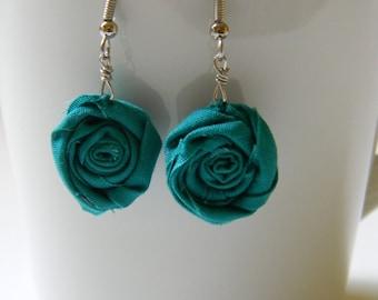 Soild teal rose bud earrings
